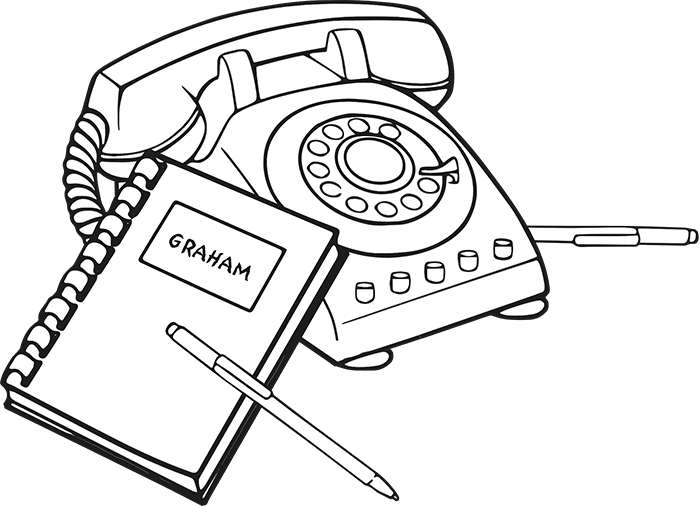 Illustration of a phone and a notepad.