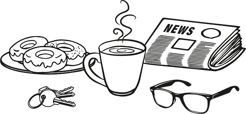 Illustration of a newspaper, cup of coffee and doughnuts.