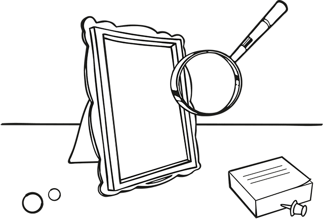 Inheritance disputes specialists - illustration of a photo frame and magnifying glass.
